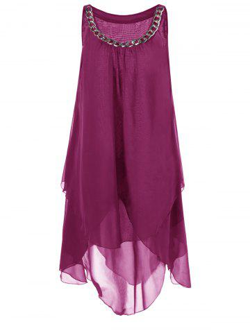 Cheap Plus Size Chains Detail Overlap Flowy Tent Dress
