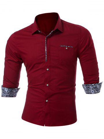 Chest Pocket Slim Muscle Long Sleeve Shirt - Wine Red - M