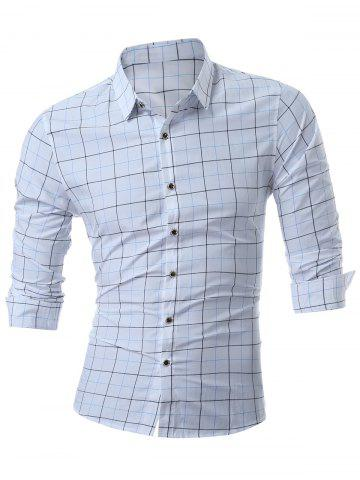 Button Up Checked Muscle Long Sleeve Shirt