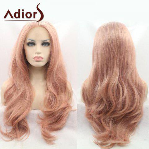 Best Adiors Long Wavy Middle Part Capless Synthetic Wig PINK