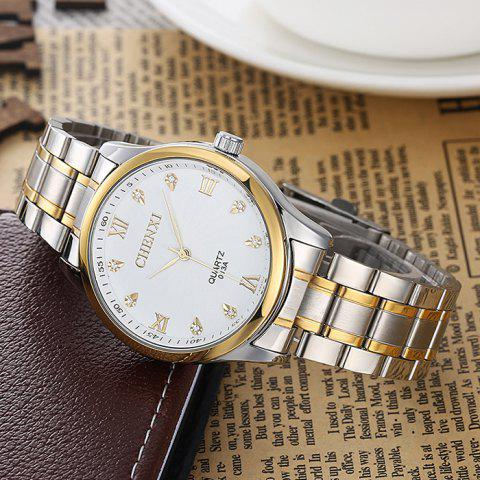 Chic CHENXI Stainless Steel Rhinestone Analog Watch - WHITE  Mobile