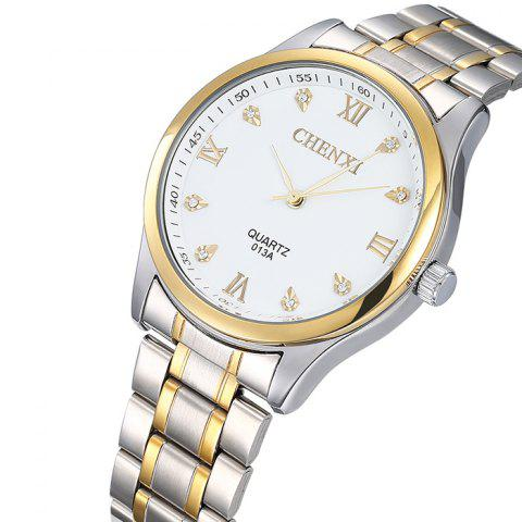 Discount CHENXI Stainless Steel Rhinestone Analog Watch - WHITE  Mobile