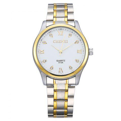 Shop CHENXI Stainless Steel Rhinestone Analog Watch - WHITE  Mobile