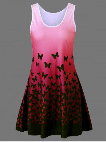 Cheap Plus Size Butterfly Print Ombre A Line  Tank Dress RED 2XL