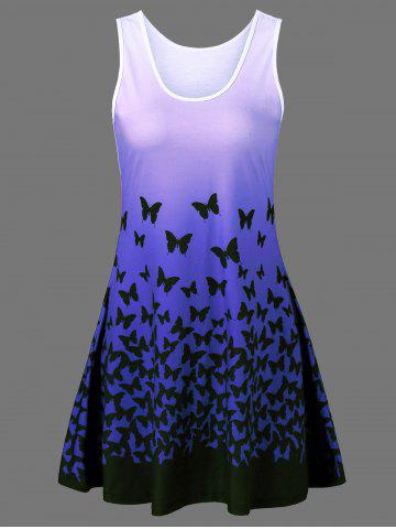 Fancy Butterfly Print Ombre Plus Size Trapeze Dress
