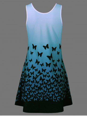 Store Plus Size Butterfly Print Ombre A Line  Tank Dress - 3XL BLUE GREEN Mobile