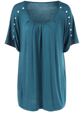 Plus Size Button Detailed Wrinkle T-Shirt - Blue Green - 2xl