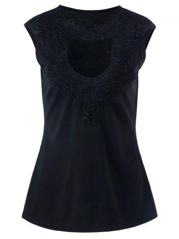 Plus Size Lace Crochet Keyhole Tank Top - Black - 4xl