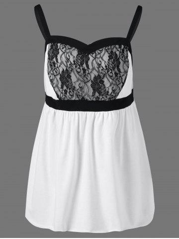Lace Insert Plus Size Babydoll Tank Tops - White And Black - 5xl