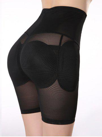 Chic See-Through Padded High Waist Boyshorts - L BLACK Mobile