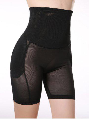 Outfit See-Through Padded High Waist Boyshorts - L BLACK Mobile