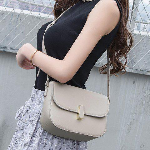 Outfit Flap PU Leather Cross Body Bag - LIGHT GREY  Mobile