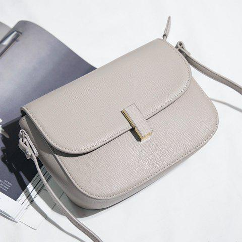 Best Flap PU Leather Cross Body Bag - LIGHT GREY  Mobile