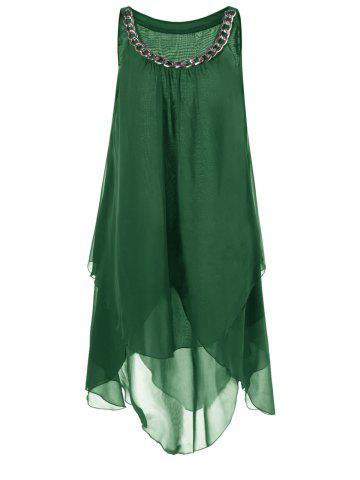 Affordable Plus Size Chains Detail Overlap Flowy Tent Dress GREEN 5XL