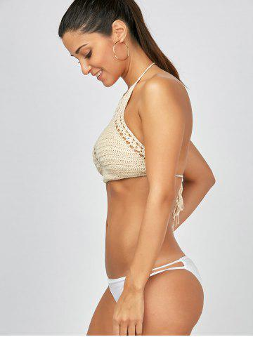 Fancy Openwork Crochet High Neck Bra - ONE SIZE APRICOT Mobile