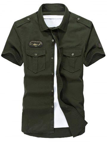 Shop Patched Short Sleeve Cargo Military Shirt ARMY GREEN M