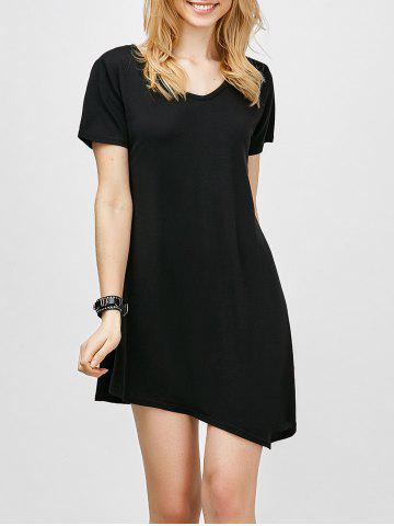 Cheap Asymmetric Hem Short Sleeve T Shirt Dress BLACK XL