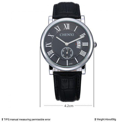 Affordable CHENXI Roman Numerals Analog Date Watch - BLACK  Mobile