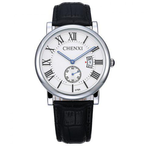 Shop CHENXI Roman Numerals Analog Date Watch WHITE