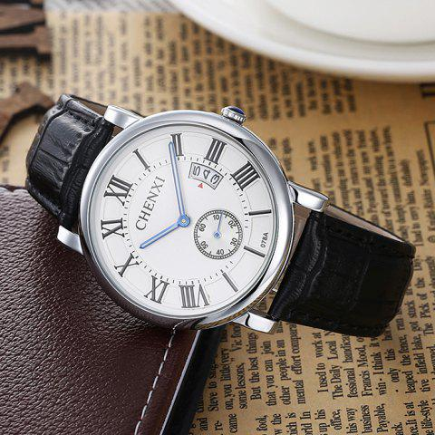 Hot CHENXI Roman Numerals Analog Date Watch - WHITE  Mobile