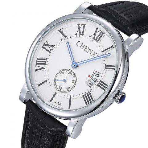 Latest CHENXI Roman Numerals Analog Date Watch - WHITE  Mobile