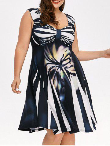 Trendy Plus Size Bowknot Printed Sleeveless Swing Dress - 2XL COLORMIX Mobile