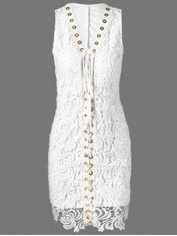 Lace Up Crochet Wedding Bodycon Dress - White - L