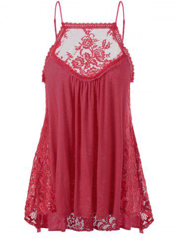 Fancy Lace Trim Smock Tank Top