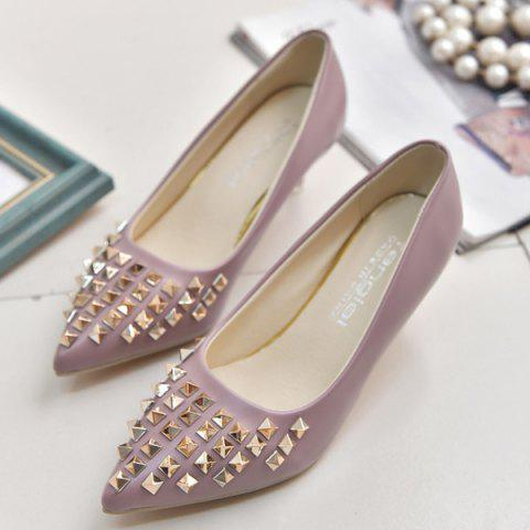 Pointed Toe Metal Rivets Pumps - PINK 38