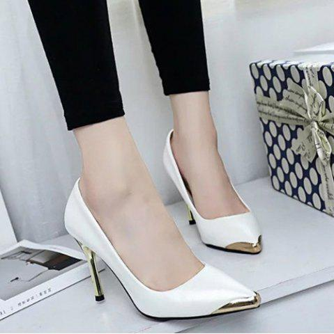 Metal Toe Stiletto Heel Pumps - White - 39