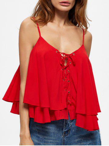 Layered Lace Up Flounced Cami Top - Red - M