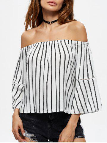 Outfit Flare Sleeve Off The Shoulder Striped Blouse