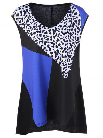 Leopard Print Plus Size Tank Top - Black - Xl