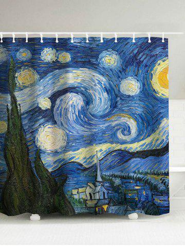 Discount Oil Painting Starry Sky Print Waterproof Shower Curtain BLUE 180*200CM