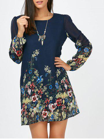 Discount Floral Long Sleeve Chiffon Short Casual Dress - S CERULEAN Mobile
