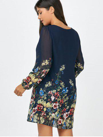 New Floral Long Sleeve Chiffon Short Casual Dress - S CERULEAN Mobile