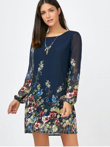 Outfits Floral Long Sleeve Chiffon Short Casual Dress - S CERULEAN Mobile