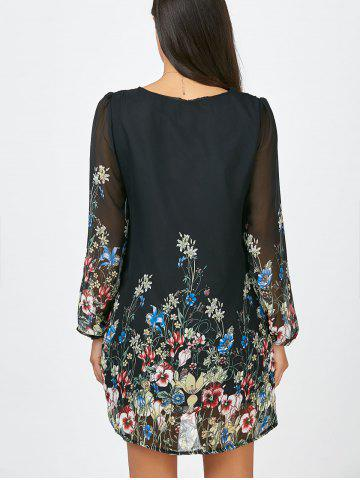 Latest Floral Long Sleeve Chiffon Short Casual Dress - S BLACK Mobile