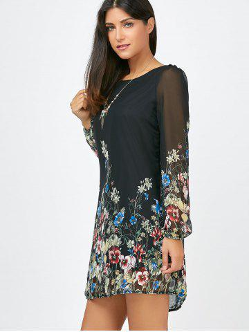 Online Floral Long Sleeve Chiffon Short Casual Dress - S BLACK Mobile