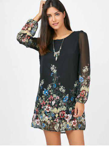 Outfit Floral Long Sleeve Chiffon Short Casual Dress - S BLACK Mobile