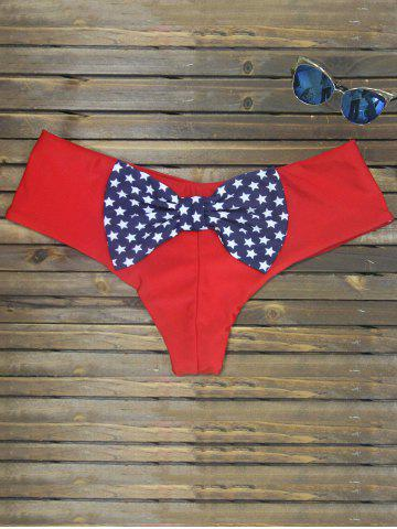 Hot Bowknot Print Swim Briefs - RED L Mobile