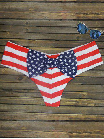 Trendy Bowknot Print Swim Briefs STRIPE PATTERN RED COLOR M