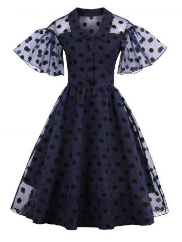 Outfits Polka Dot Vintage Pin Up Dress PURPLISH BLUE XL