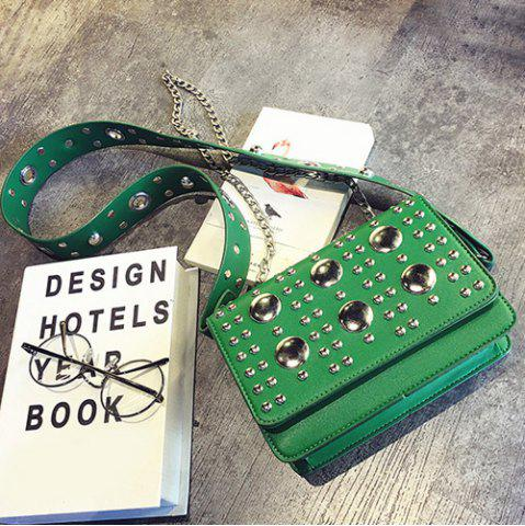Affordable Punk Studded Wide Strap Crossbody Bag GREEN