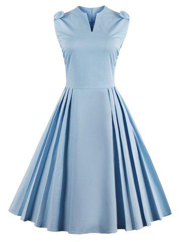 Latest V Neck Bowknot Pin Up Fit and Flare Work Dress