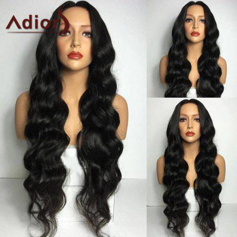 Fancy Adiors Long Middle Part Wavy Synthetic Wig BLACK