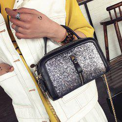 Zips Detail Sequin Handbag