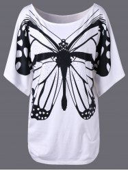 Plus Size Butterfly Longline T-Shirt with Rhinestone
