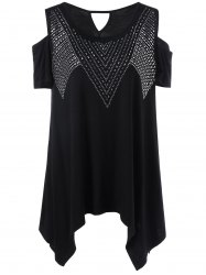 Plus Size Rivet Embellished Cold Shoulder T-Shirt