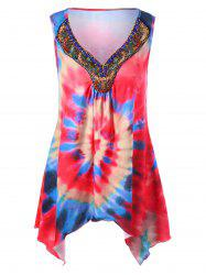 Tie Dye Asymmetrical Tank Top with Bead